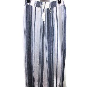 Style & Co. Striped Wide Leg Pull On Pants White L